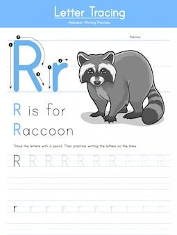 Lettre r traçant l'alphabet animal r pour le raton laveur