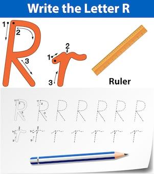 Lettre r traçant des feuilles d'alphabet
