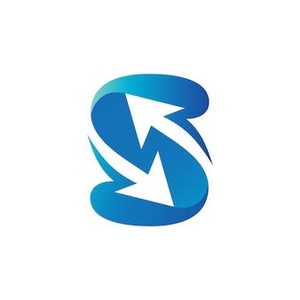 Lettre s flèche logo vecteur