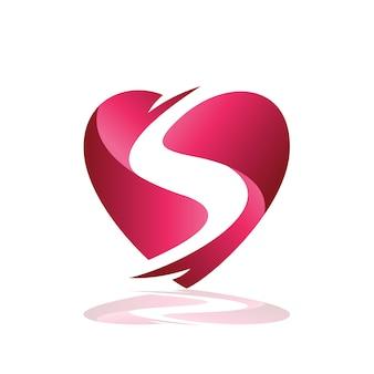 Lettre s sur le logo du coeur