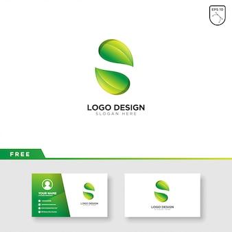 Lettre s logo de la feuille