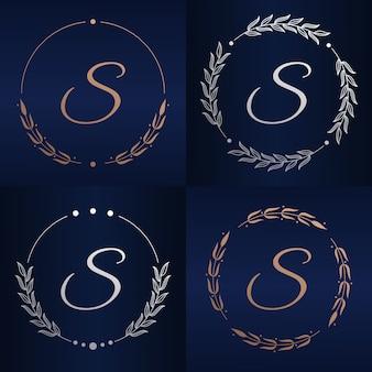 Lettre s avec modèle de logo de cadre floral
