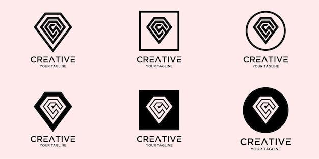 Lettre s avec modèle de logo de diamant abstrait