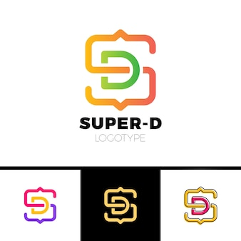 Lettre s et d monogramme logo de forme carrée avec des crochets de code