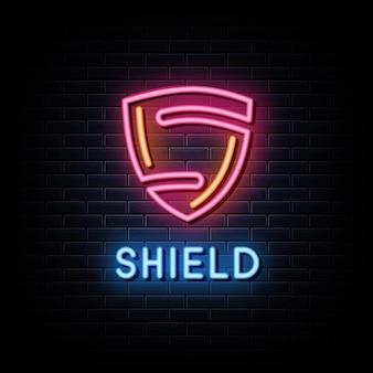 Lettre s shield logo enseignes au néon