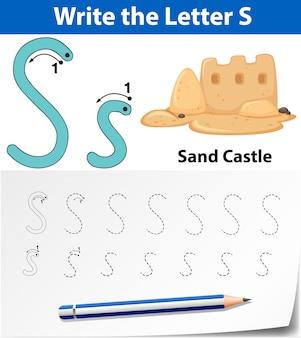 Lettre s traçant des feuilles d'alphabet