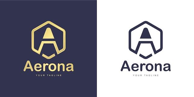 Lettre Simple A Logo Avec Le Concept De «forme Hexagonale» Vecteur Premium