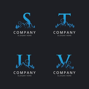Lettre stu et v avec modèle de logo abstrait montagne