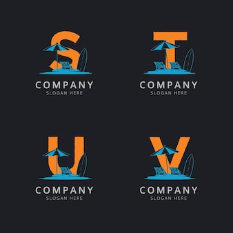 Lettre stu et v avec modèle de logo de plage abstraite