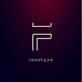 Lettre de style futurisme f type minimaliste pour monogramme cyber tech élégant logo futuriste moderne