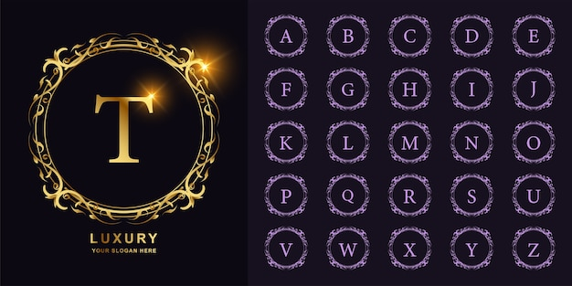 Lettre t ou alphabet initial de collection avec modèle de logo doré de luxe ornement cadre floral.