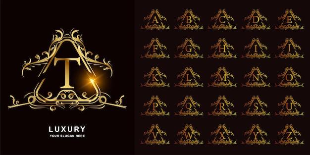 Lettre t ou alphabet initial de collection avec le modèle de logo d'or de cadre floral d'ornement de luxe.