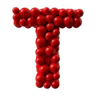 Lettre t avec des boules brillantes de couleur rouge. illustration réaliste.