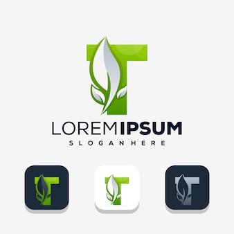 Lettre t colorée avec création de logo leafe