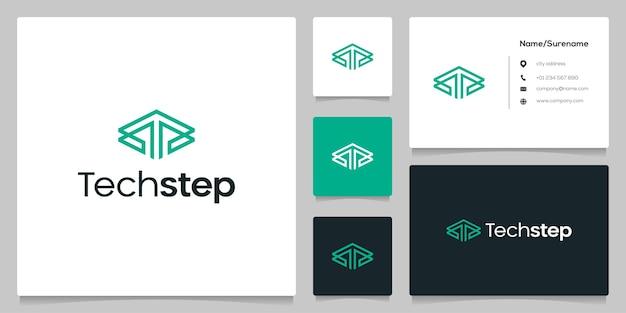 Lettre t flèche vers le haut la conception de logo de contour de ligne de technologie