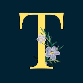 Lettre t avec des fleurs