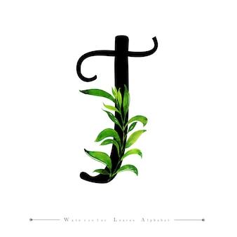 Lettre t avec fond de feuilles aquarelle