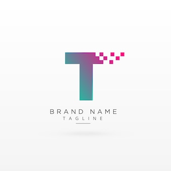 Lettre t logo conception concept avec particules