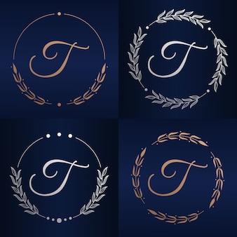 Lettre t avec modèle de logo de cadre floral