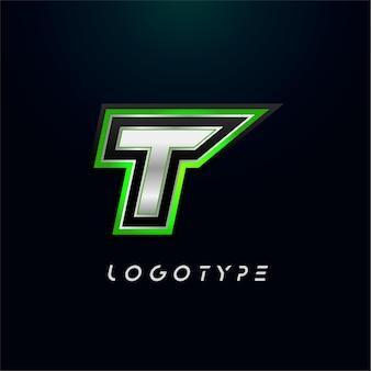 Lettre t pour logo de jeu vidéo et emblème de jeu de sport monogramme super héros lettre futuriste audacieuse