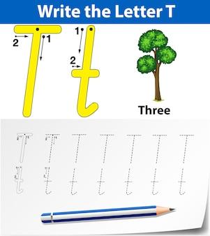 Lettre t traçant des feuilles d'alphabet