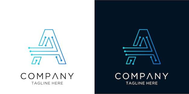 Lettre une technologie d'entreprise de conception de logo dans le style de contour linéaire
