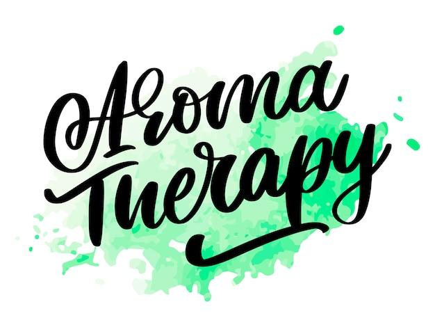 Lettre de thérapie d'arôme pour le style de vie de luxe. médecine douce. mode de vie sain . signe organique.