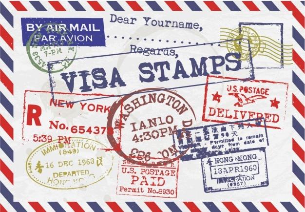 Lettre avec des timbres de visa