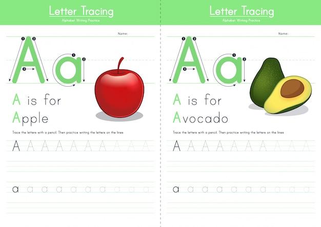 Lettre a traçant l'alphabet alimentaire