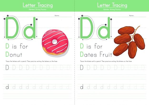 Lettre d traçant l'alphabet alimentaire