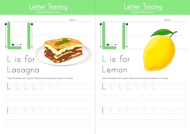 Lettre l traçant l'alphabet alimentaire