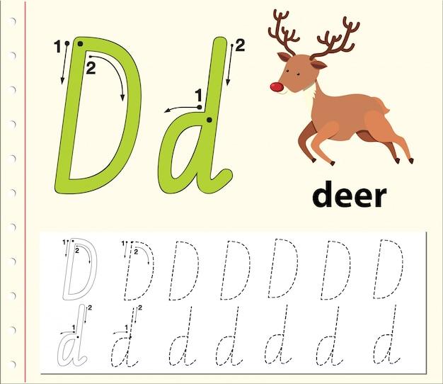 Lettre d traçant des feuilles d'alphabet