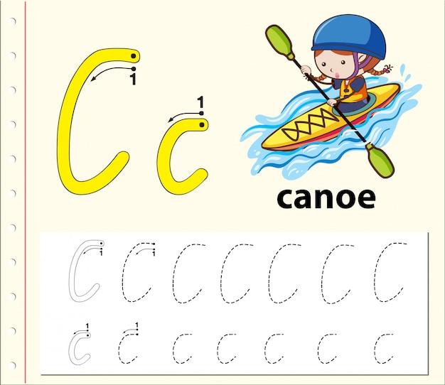 Lettre c traçant des feuilles d'alphabet
