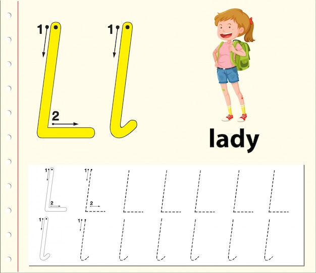 Lettre l traçant les feuilles de l'alphabet