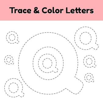 Lettre de trace pour la maternelle et les enfants d'âge préscolaire. écrivez et colorez q.