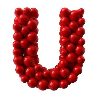 Lettre u avec des boules brillantes de couleur rouge. illustration réaliste.