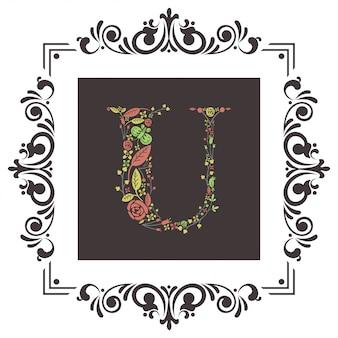Lettre u initiale avec vecteur floral