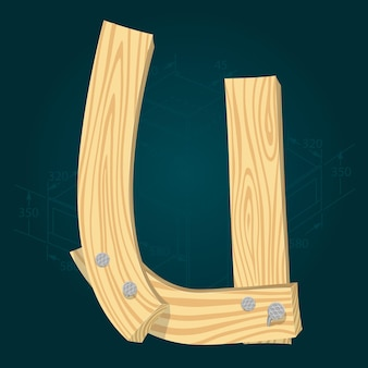 Lettre u - police vectorielle stylisée faite de planches de bois martelées avec des clous en fer.