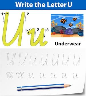 Lettre u traçant les feuilles de l'alphabet