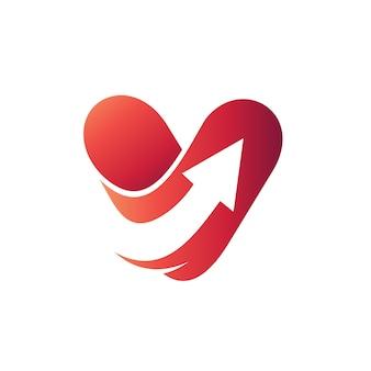 Lettre v flèche logo vecteur