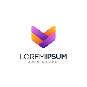 Lettre v logo coloré