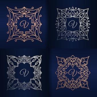 Lettre v avec modèle de logo de cadre floral