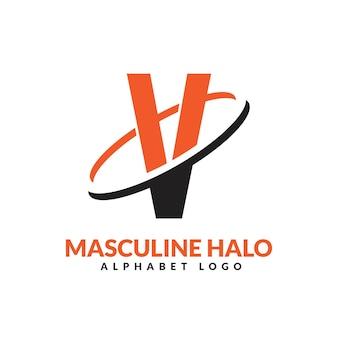 Lettre v orange et noir anneau géométrique masculin logo vector illustration icône