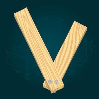 Lettre v - police vectorielle stylisée faite de planches de bois martelées avec des clous en fer.