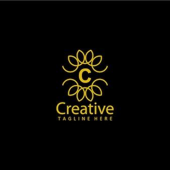 Lettre c vecteur de conception de modèle or logo créatif