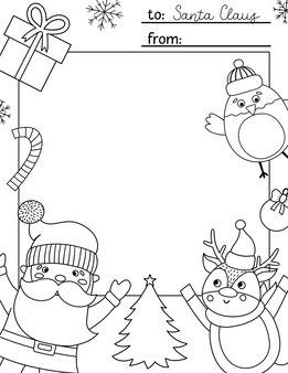Lettre de vecteur noir et blanc au modèle du père noël. conception de carte de noël mignon. disposition du cadre d'hiver pour les enfants avec des personnages amusants. arrière-plan festif ou page de coloriage avec place pour le texte.