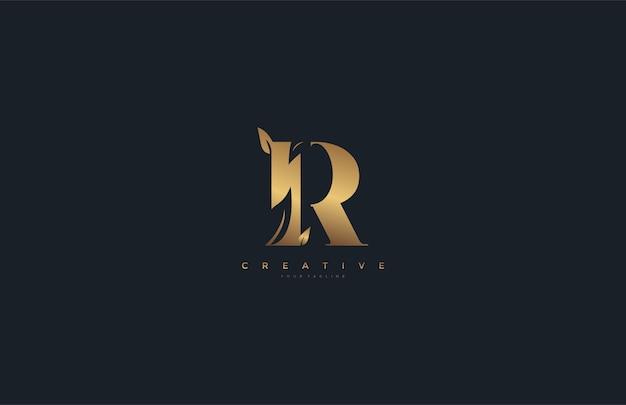 Lettre vectorielle r logo feuille monogramme doré