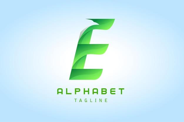 Lettre verte e avec logo dégradé ombre aigle corporate