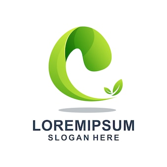 Lettre Verte E Avec Modèle De Logo De Feuille Vecteur Premium