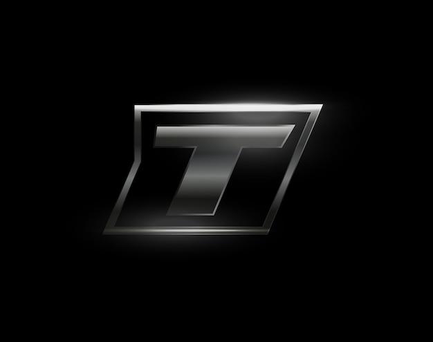 Lettre de vitesse de carbone t logo foncé mat métal carbone texture lecteur dynamique lettre en acier turbo gras